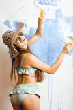 Cute bright woman in sunglasses and hat with cocktail in bikini in studio close up tourist Stock Images