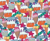 Cute brightly holiday seamless background. Hand drawn pat. Tern with stars, baloons, fireworks, candies, lollipops, cupcakes, ice creams, gift boxes, cocktails stock illustration