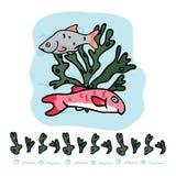 Cute british fish cartoon vector illustration motif set. vector illustration