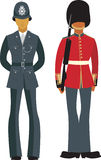 Cute British officers. English policeman (Bobby) and Queen's Guard Royalty Free Stock Photography