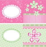 Cute brochure. Pink and green brochure with flowers, 5x10 Stock Photo
