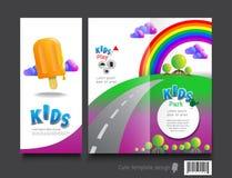 Cute brochure template design. Kids concept Stock Photos