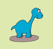 Cute brontosaurus hand drawn. Vector illustration of a cute brontosaurus on a green background Royalty Free Stock Image