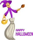 Cute broom witch cartoon Stock Image
