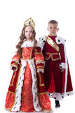 Cute Brother And Sister Posing In Royal Attire Stock Photography