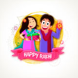 Cute Brother and Sister for Raksha Bandhan. Cute Brother and Sister enjoying after celebrating Raksha Bandhan Festival, Creative abstract background with pink Stock Photos