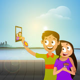 Cute Brother and Sister for Raksha Bandhan. Cute Happy Brother and Sister taking selfie after celebrating Raksha Bandhan Festival on nature background Stock Photo