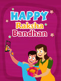 Cute Brother and Sister for Raksha Bandhan. Cute Brother and Sister taking selfie together, Beautiful Greeting Card design with colourful text Happy Raksha Royalty Free Stock Photography