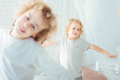 Cute brothers in the morning. Cute, small brothers playing together in the morning Stock Images
