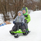 Cute brothers on sleigh Stock Images