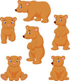 Cute brown bear cartoon collection Royalty Free Stock Photos