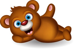 Cute brown bear cartoon posing Royalty Free Stock Photos