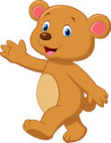 Cute brown bear cartoon waving hand Stock Photos