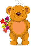 Cute brown bear with flowers Royalty Free Stock Photo