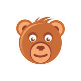 Cute brown bear head. Minimal illustration of a bear head that can be used for a logo or as isolated graphic element Royalty Free Stock Images