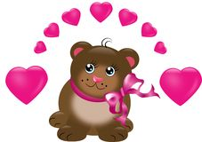 Cute brown bear with hearts Stock Images
