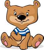 Cute brown bear illustration sitting - vector Stock Images