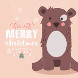 Cute brown bear on pink background and Merry Christmas lettering Royalty Free Stock Photography