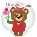 A cute brown bear holds three tulips. Congratulations on your mother`s day, in the style of cartoons. Royalty Free Stock Photo