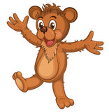 Cute brown cartoon bear. Isolated Laughing bear raising his arms. Vector Stock Photo