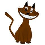 Cute brown cartoon cat smiling Stock Images