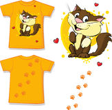 Cute brown cat printed on shirt - vector Royalty Free Stock Photography