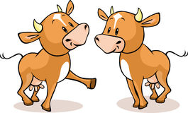 Cute brown cow standing isolated - vector Stock Images