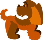 Cute brown curly dog,  illustration Royalty Free Stock Photos