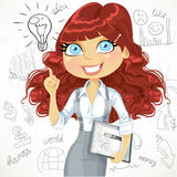 Cute brown curly hair girl with a tablet idea inspiration Stock Photos