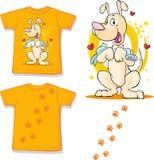 Cute brown dog printed on shirt - vector. Illustration Royalty Free Stock Image