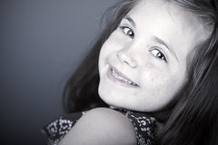 Cute Brown Haired Child Smiling Stock Photos