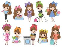 Cute Brown Haired Girl Activity Set. Vector Illustration of cute brown haired girl in daily life activities such as working out, studying, doing laundry, cooking Royalty Free Stock Photography