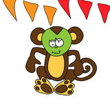 Cute brown monkey has a stomach ache royalty free stock photo