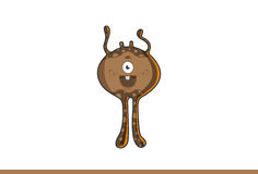 Cute brown monster happy. Royalty Free Stock Photography