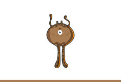 Cute brown monster Straight faced. Vector Illustration. Isolated on white background Royalty Free Stock Image