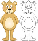Cute Brown Teddy Bear With Lineart Stock Photography