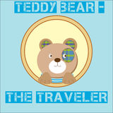 Cute brown Teddy Bear - the traveler on the background Stock Photo