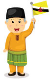 Cute Brunei man in traditional clothes Stock Images