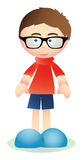Cute brunet boy with glasses Stock Photo