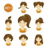 Cute brunet little girls with various hair style. royalty free illustration