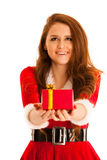 Cute brunete girl in santa claus dress with presents for christm Royalty Free Stock Images