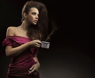 Cute brunette royalty free stock photography