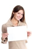 Cute brunette with blank paper Stock Photography