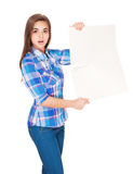 Cute brunette with blank sign. Stock Photos