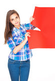 Cute brunette with blank sign. Stock Image