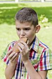 Cute brunette boy eating hotdog. With appetite stock photography