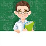 Cute brunette boy with school textbook holds large white horizontal banner Stock Photos