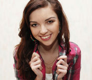 Cute brunette in casual wear Royalty Free Stock Photography