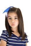 Cute brunette caucasian girl kissing portrait close up Royalty Free Stock Photos