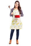 Cute brunette cooking dinner Royalty Free Stock Photography